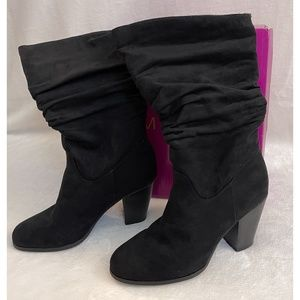 Rampage Ram-Venice Black Faux Suede Slouch Boots